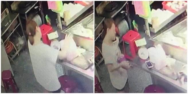 婦人推著寶寶推車,進入店家竊取手機。(圖/讀者提供)
