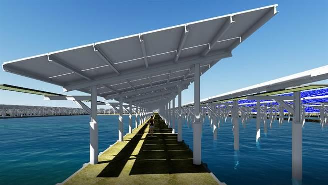 臺鹽綠能建置的「漁電共生」太陽能案場。(本報資料照片)