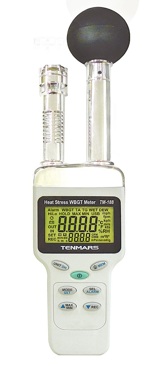 世駿電子TENMARS TM-188 WBGT黑球熱中暑指數計、檢測熱指數、預防中暑適用於炎熱工作場所。圖/世駿電子提供