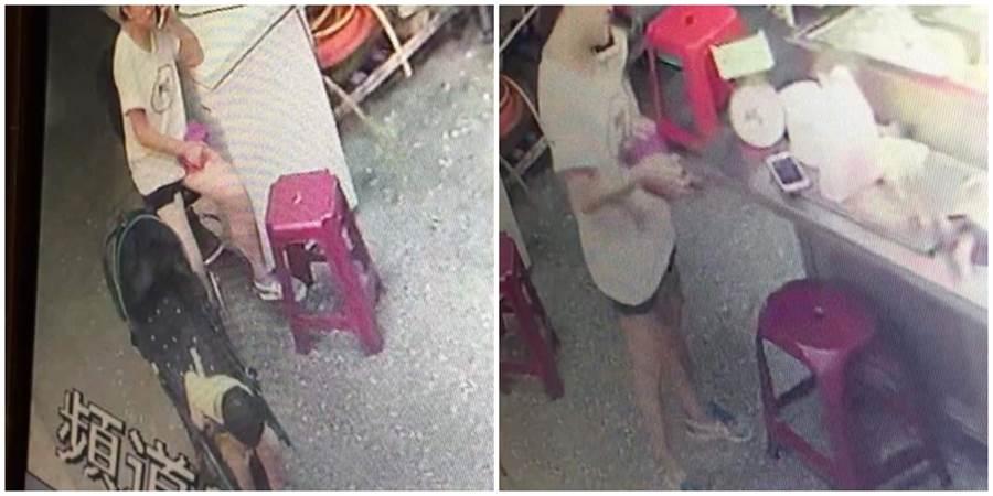 婦人推著寶寶推車,進入店家竊取手機,也不顧孩子也還在一旁。(圖/讀者提供)