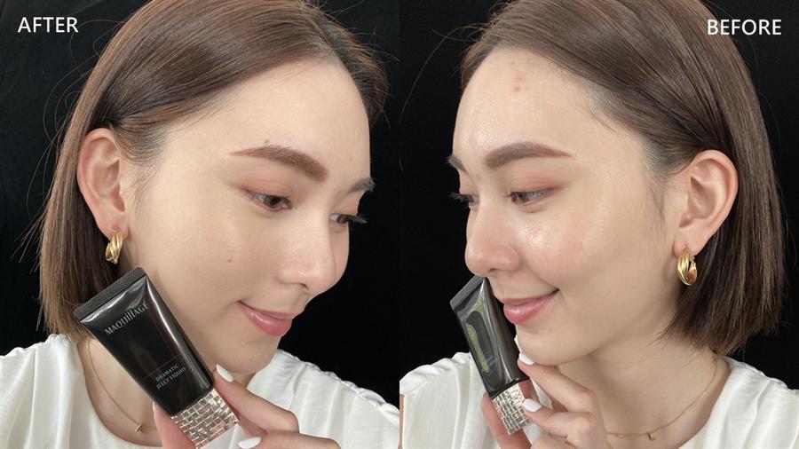 妝前妝後對比圖,可看出星魅裸紗慕絲粉蜜具有自然妝感和遮瑕力,肌膚泛紅、毛孔都能完美遮蓋。(圖/邱映慈攝影)