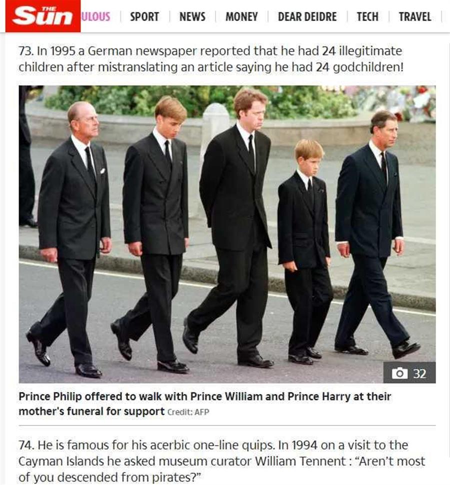 英國媒體指菲利普親王有24名私生子女。(圖/The Sun、AFP)