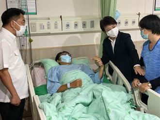 台中員警遭思覺失調患者砍傷 盧秀燕深夜探視慰問