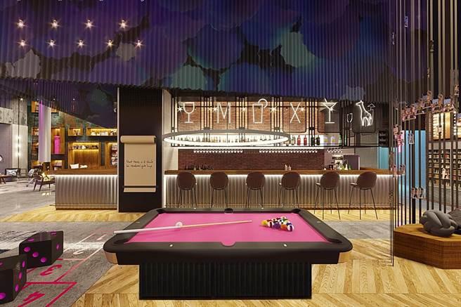 将于9/1日起接授订房的台中丰邑Moxy酒店,强调馆内针对千禧世代旅人规画有各种有趣的共享空间。(图/丰邑机构)