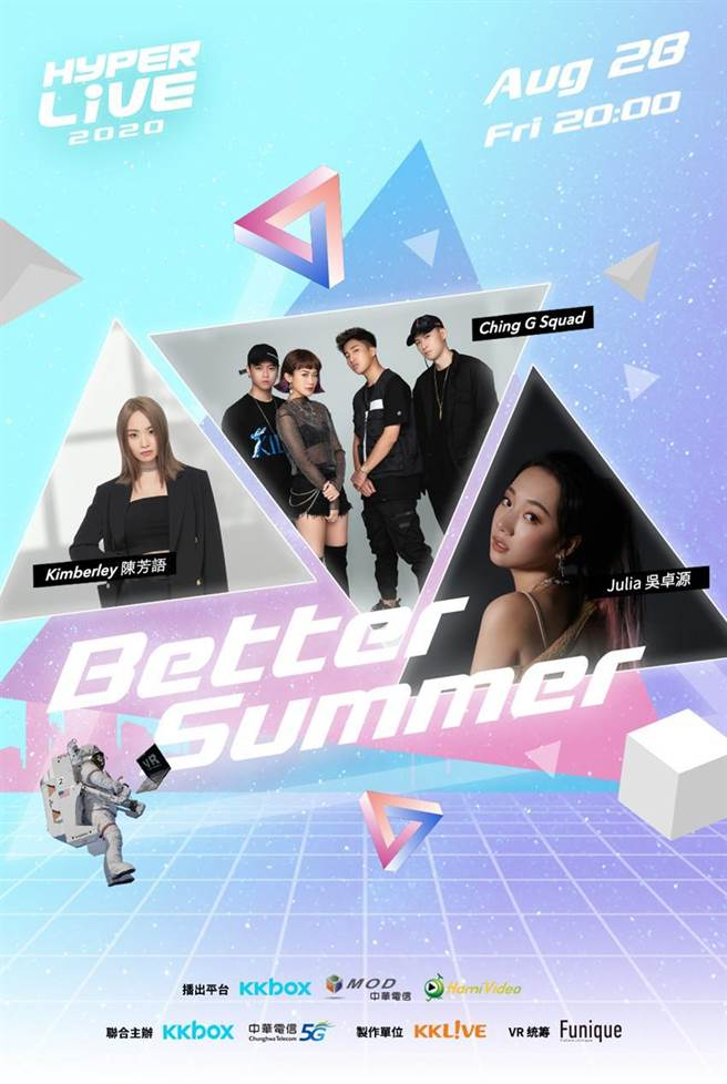 中華電信5G應用「HyperLIVE 2020」虛擬演唱會再度登場,獨家攜手KKBOX 多位超人氣歌手8月28熱力開唱。圖/中華電信提供