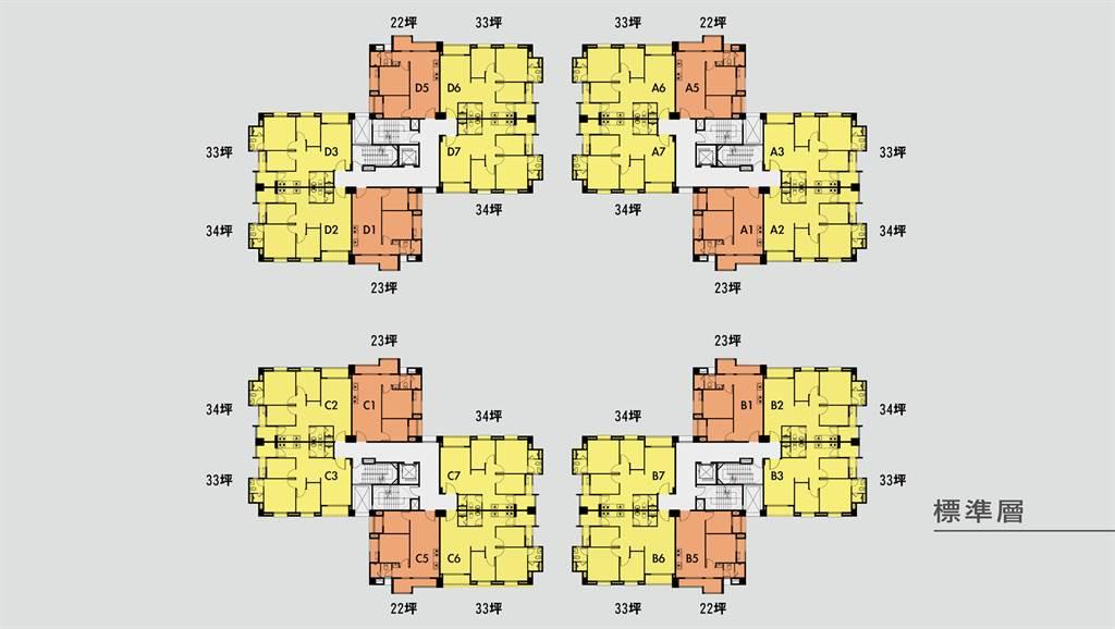 快樂天鵝標準層平面圖