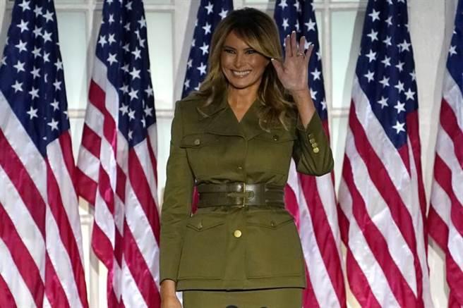 第一夫人梅蘭妮亞,25日在白宮玫瑰園發表演說。(美聯社)