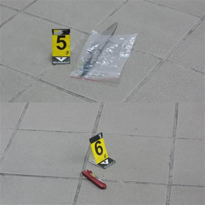 鄭捷殺人使用的水果刀,刀口還有被害人的血跡(上圖);鄭捷攜帶的折疊刀(下圖)。(中時資料庫)