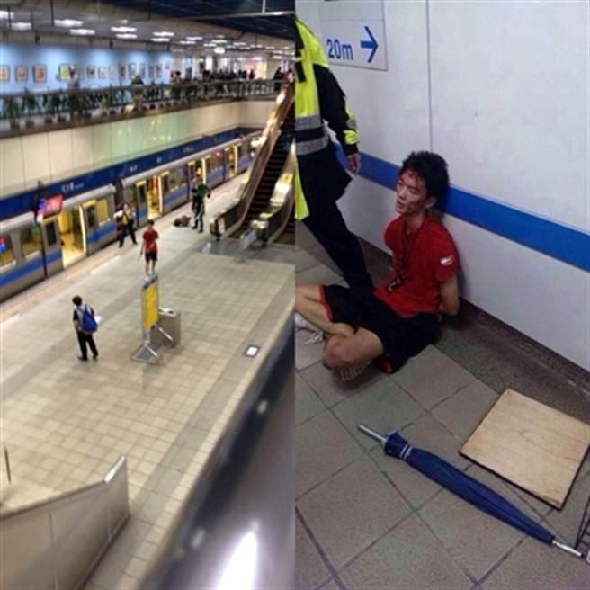 鄭捷當時在下午4點左右,突然出現並持刀在江子翠捷運站的車廂內隨機砍殺乘客(左圖/紅衣男子);鄭捷落網時,全身血跡斑斑(右圖)。(中時資料庫)