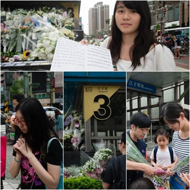 鄭捷事件後,許多民眾23日自發性地來到江子翠3號出口獻花、寫祝福卡片以弔念死者,期望傷者康復;民眾獻花後低頭默哀。(中時資料庫)