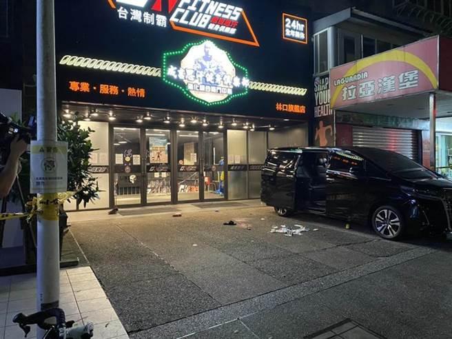 館長陳之漢今天凌晨2時許於林口區仁愛路成吉思汗健身館遭槍擊(翻攝照片/戴上容新北傳真)