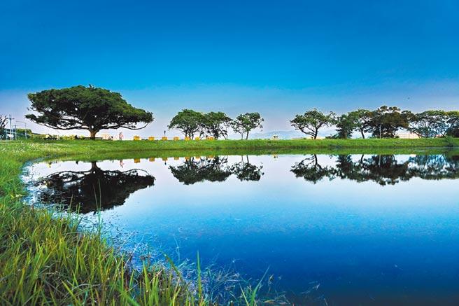 新北市高灘處將斥資1600萬把樹林河濱公園滯洪池打造成愛心形狀,盼能使該處能成為網美打卡新熱點。(新北市水利局提供/張睿廷新北傳真)