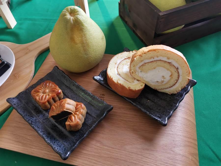 台南應用科技大學USR團隊發表柚子創意料理。(劉秀芬攝)