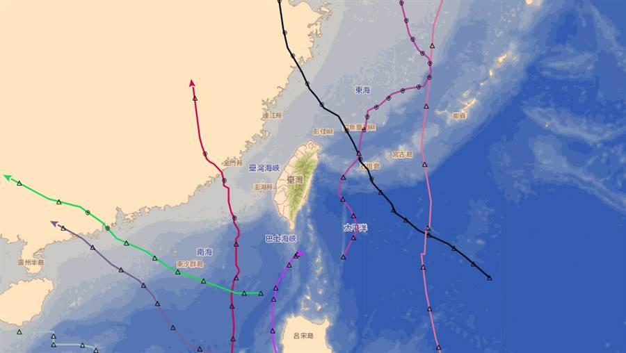 今年颱風順著高壓邊緣北上,路徑相當一致。(中央氣象局提供)