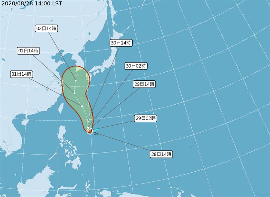 原本位於菲律賓東方海面的熱帶性低氣壓在今天下午形成梅莎颱風。(翻攝自中央氣象局/林良齊台北傳真)