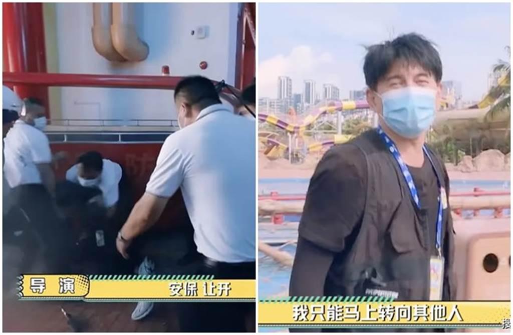 吳奇隆錄影遭6保安誤當粉絲壓制在地。(取自微博)