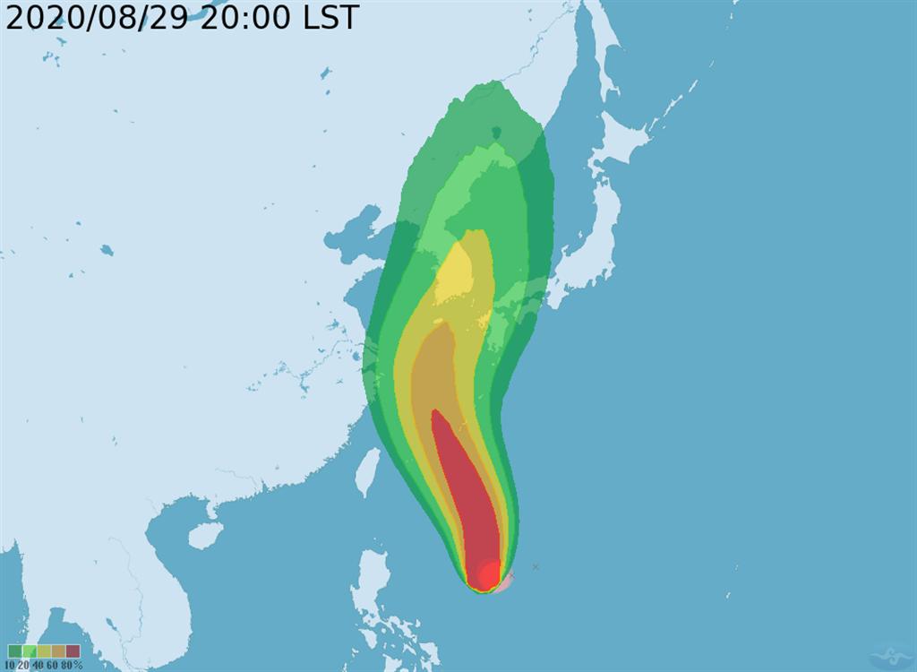 氣象局指出,下周一(31日)下半天至下周二(9月1日)上半天是相對最接近臺灣的時候。(氣象局提供)