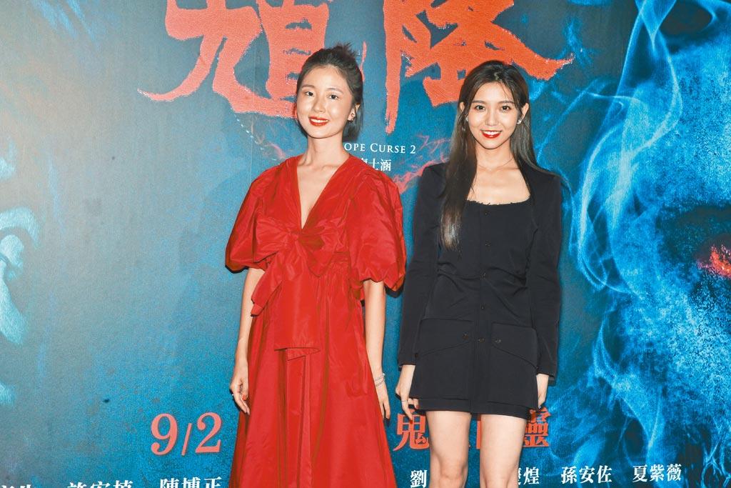 女主角許安植(左)和同片演員夏紫薇等人昨出席首映會,當晚連趕7場映後活動。(粘耿豪攝)