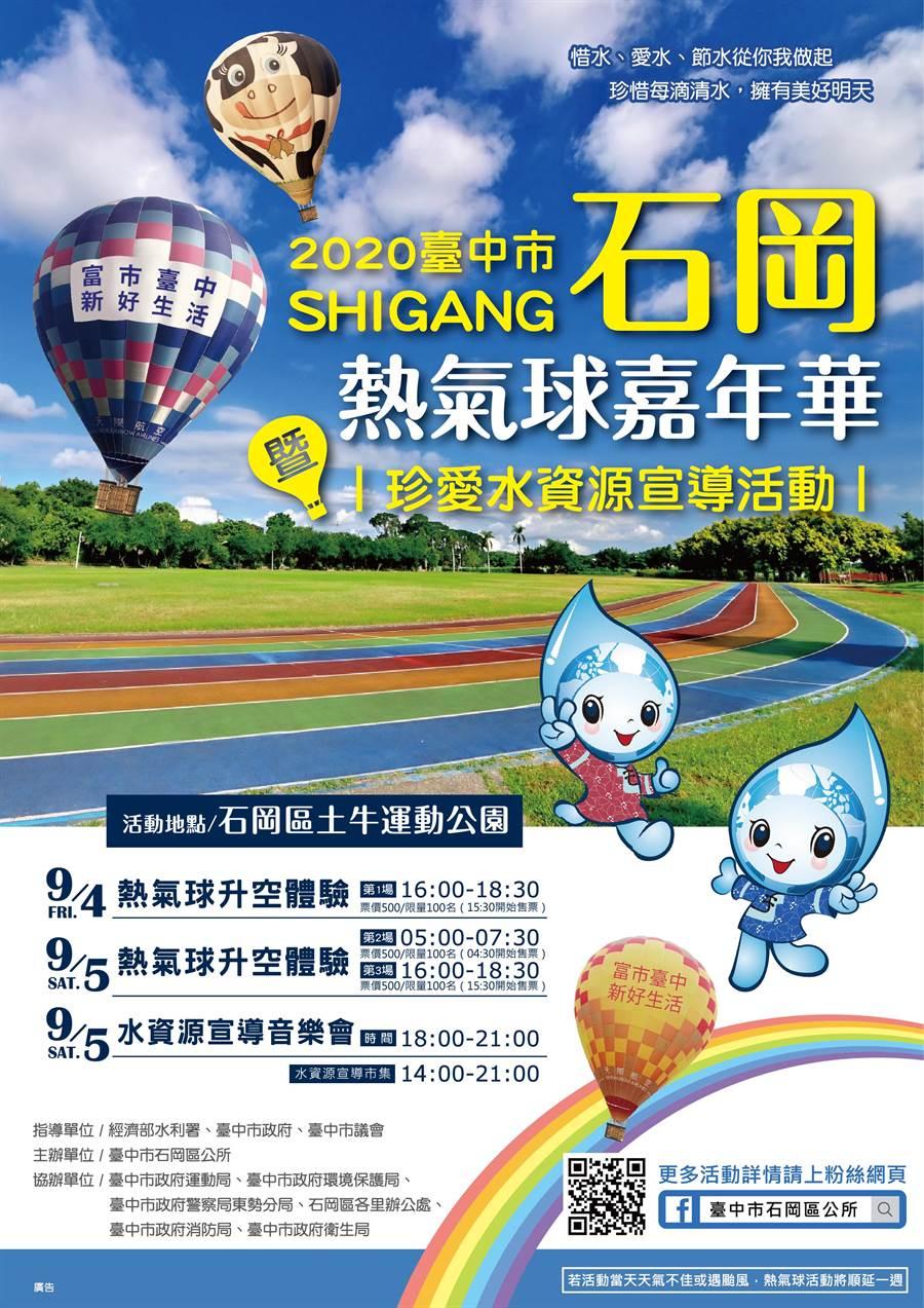 石岡區熱氣球嘉年華活動將於9月4、5日於土牛運動公園登場。(石岡區公所提供/陳淑娥台中傳真)