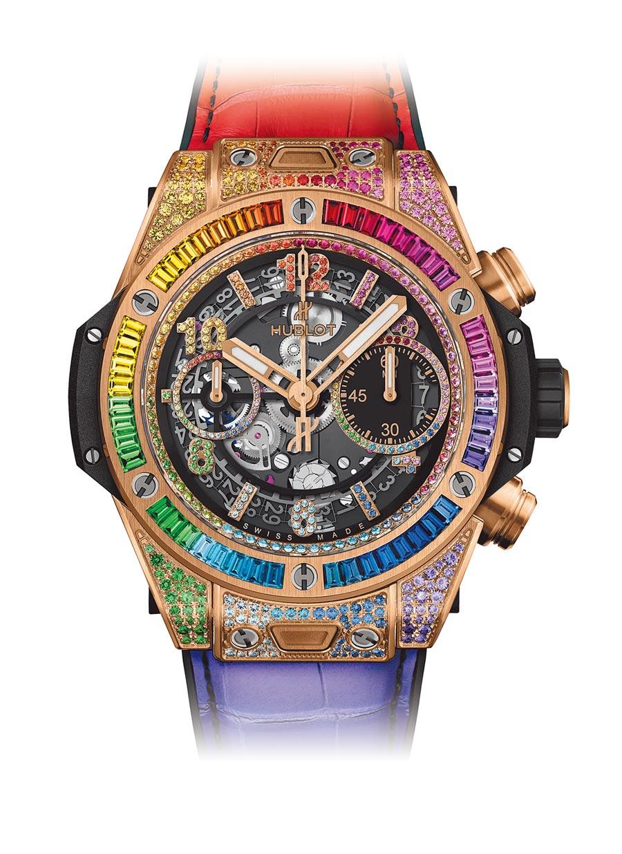 1.Big Bang Unico彩虹寶石計時碼表,聲勢驚人,284萬5000元。(Hublot提供)