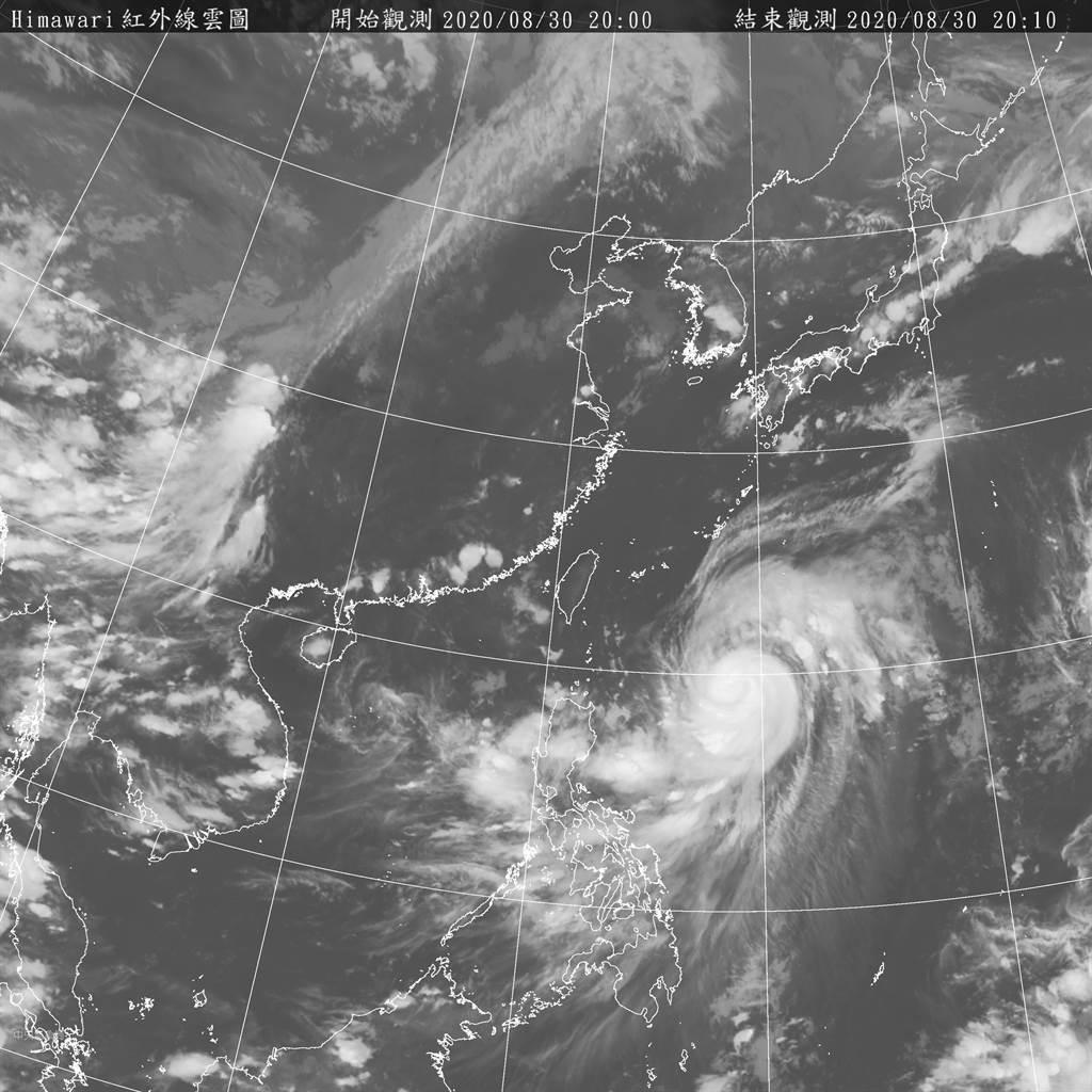 今年第9號颱風梅莎(國際命名:MAYSAK)持續增強中,氣象局指出,明(31日)起台灣將受外圍環流影響。(氣象局提供)