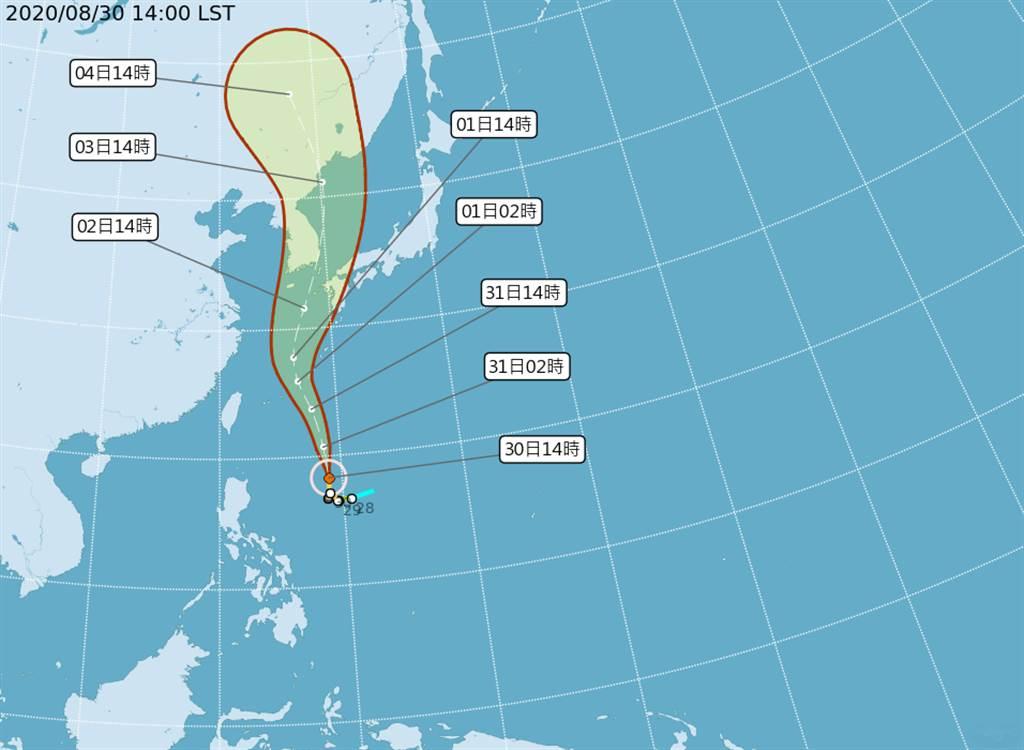「台灣颱風論壇|天氣特急」表示,梅莎開始動了起來,加速往北移動。由於梅莎所處的環境良好,低風切、高海溫、高能量,非常適合發展。在未來48小時內有望發展成強烈颱風。(氣象局提供)