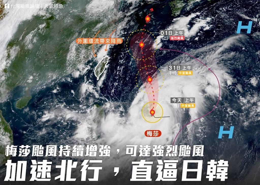 「台灣颱風論壇|天氣特急」指出,中颱梅莎逐漸膨脹中,並開始慢慢加速,在48小時內強度會再有顯著成長,直逼強颱。(台灣颱風論壇提供)