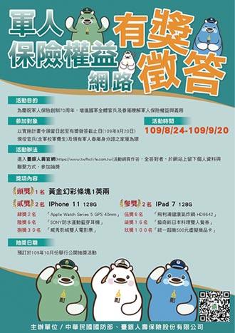 臺銀人壽╳國防部共同舉辦軍人保險權益網路有獎徵答活動