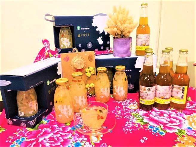 銅鑼鄉農會開發多元杭菊產品,新推出全台第一支杭菊啤酒,以及口感滑順的杭菊銀耳露。(巫靜婷攝)
