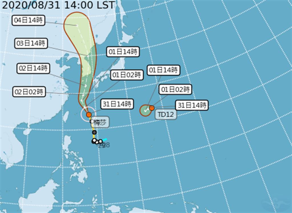 日本東南方有一熱帶性低氣壓形成,預計未來24小時之內會增強為今年第10號颱風「海神」,目前位置在關島北方,距離台灣相對位置為東方2500公里海面上,雖然短時間內有往西移動趨勢,但未來路徑還是會往日本前進,預計下周日(6)影響日本本島,對台灣無直接影響。(取自氣象局)