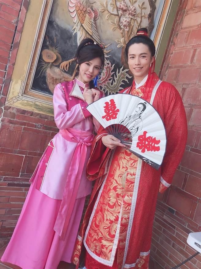 林禹和张怀媗演出《戏说台湾》全新单元「新娘神救姻缘」。(三立提供)