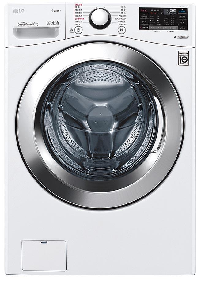燦坤洗衣機銷售排名第1的LG 18公斤蒸氣洗脫滾筒洗衣機,原價3萬7900元,促銷價3萬3900元,送5年延保及獨家贈品。(燦坤提供)