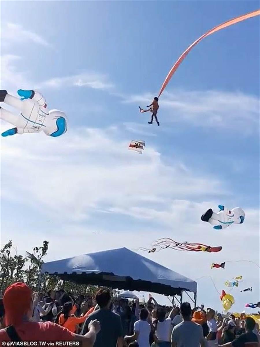 國內昨(30日)發生一起風箏捲人事件,不但在國內快速傳開,更被國際媒體報導出來,國外網友震撼驚呼:我的天阿!太嚇人了!(圖/路透社)