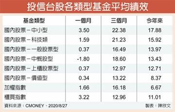 台股基金 今年來績效完勝大盤