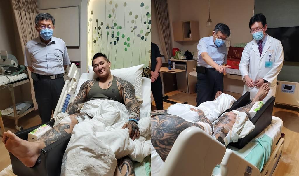 台北市長柯文哲到醫院探視館長。(圖/摘自飆捍臉書)