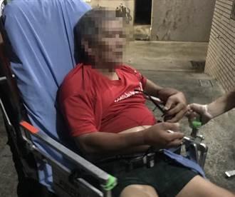 彌陀男子被鐵梯壓住 警消即時救援保住手臂