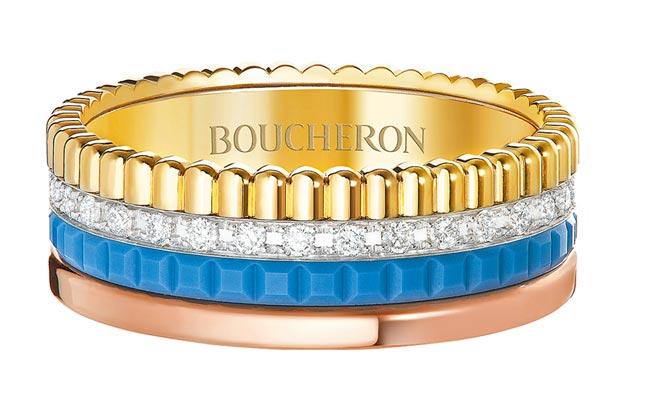 Boucheron藍色陶瓷Quatre系列戒指,20萬8000元。(Boucheron提供)