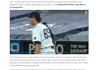 MLB》背號89大聯盟初亮相 洋基菜鳥札胡雷另類紀錄