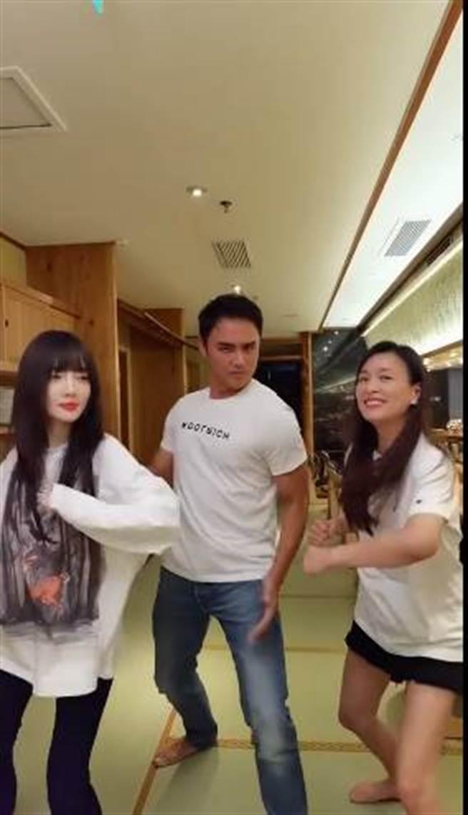 張庭與李小璐、明道大跳熱舞。(圖/取材自張庭微博)