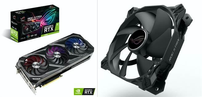 ROG Strix GeForce RTX3090顯示卡、ROG Strix XF 120系統散熱風扇。(華碩提供/黃慧雯台北傳真)