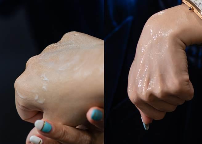 王盈喬老師分享辨別乳霜好壞的方法就是「噴水」,右圖使用SUQQU絕緻晶艷潤采乳霜,水很快和乳霜融合,證明乳霜好吸收且親膚;左圖以他牌來實驗抹在肌膚上之後再噴水,呈現水珠,代表較難吸收肌膚裡,親膚性低。(圖/品牌提供)