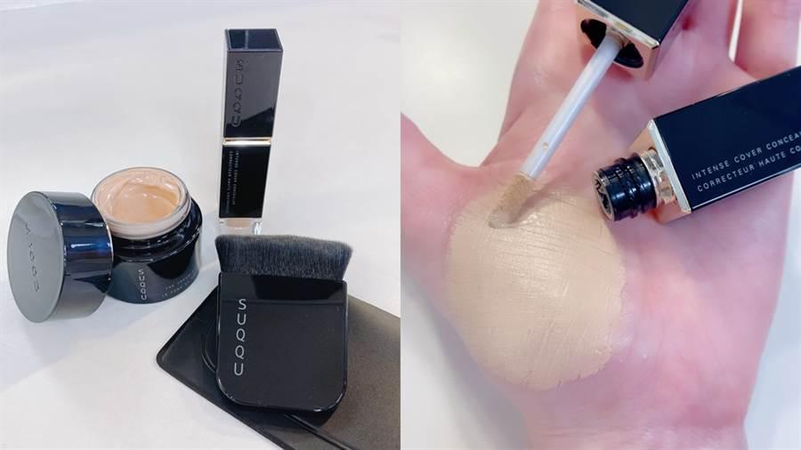 SUQQU推出三款底妝新品,品項包含粉霜、遮瑕、粉底刷;晶采淨妍遮瑕霜質地細緻貼膚,細長型的刷頭沾取足量遮瑕霜,不管是重點或大面積修飾,都能隨意調整。(圖/邱映慈攝影)