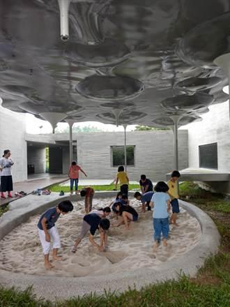 左鎮化石園區沙坑藝術棚架有亮點 變身「石間裡的謎雲」