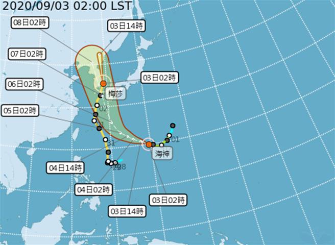 海神今增強為中度颱風,最快周五發展為強烈颱風。(中央氣象局提供)