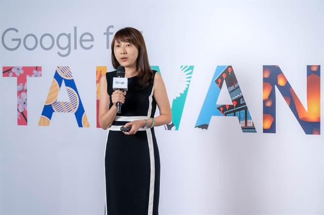 Google 台灣總經理林雅芳分享 Google 智慧台灣計劃 「振興」各方案內容。(Google提供/黃慧雯台北傳真)