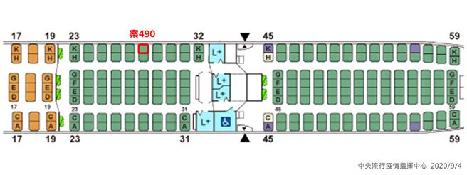 案490機艙座位圖。(指揮中心提供)