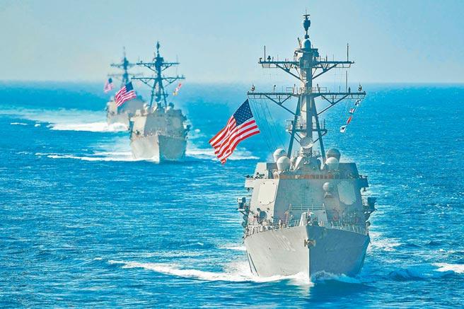 大陸軍演對抗美艦航行自由活動。圖為美軍艦編隊巡航。(取自美國海軍官網)