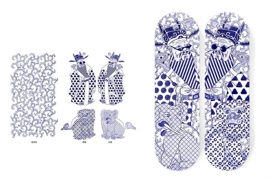 設計師張簡士揚將文官門神及座騎圖像置換在滑板上別具跨時代趣味。(史博館提供)