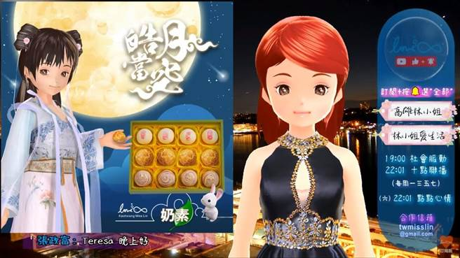 从不露脸的网红高雄林小姐与老店一福堂合作,推出联名月饼礼盒。(高雄林小姐提供/林宏聪高雄传真)