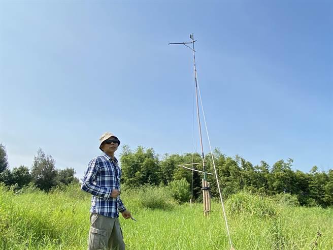 曹燕銘為了證明黑翅鳶存在於通霄,與苗栗縣自然生態學會合作,在自家農地裝設棲架與相機記錄。(巫靜婷攝)